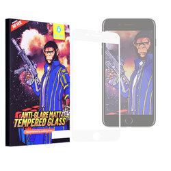 Folie Sticla iPhone 7 Blueo 5D Mr. Monkey Strong Matte - Alb