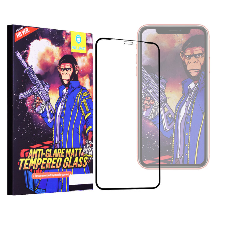 Folie Sticla iPhone 11 Blueo 5D Mr. Monkey Strong Matte - Negru