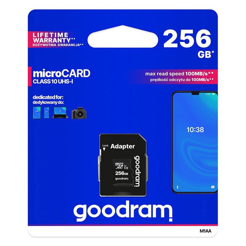 Card De Memorie Goodram Microcard 256 GB Micro SDXC UHS-I 100 MB/s Clasa 10 + Adaptor SD - Negru