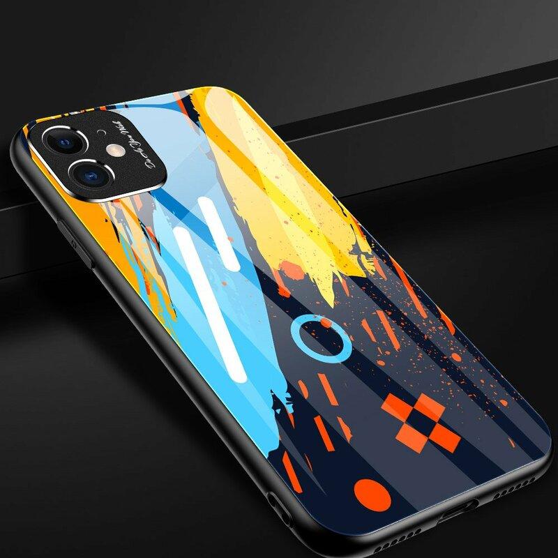 Husa iPhone 11 Color Glass Cu Acoperire Pentru Camera Foto - Pattern 1