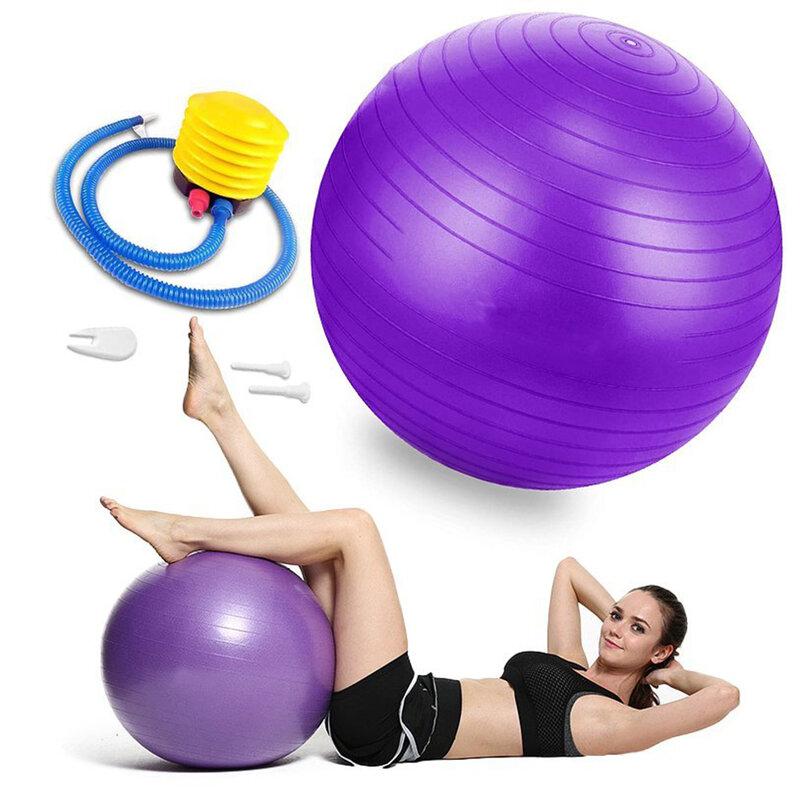 Minge gimnastica pentru recuperare fizica, fitness, yoga, pompa manuala, mov