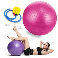 Minge gimnastica pentru recuperare fizica, fitness, yoga, pompa manuala, roz