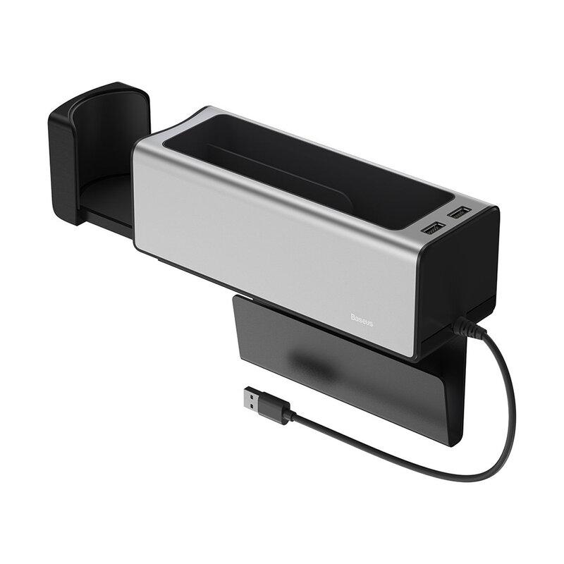 Organizator Auto Baseus Tip Cutie Pentru Cotiera 2x USB Cu Suport Retractabil Pentru Pahar - CRCWH-A0S - Argintiu