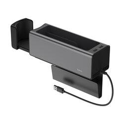 Organizator Auto Baseus Tip Cutie Pentru Cotiera 2x USB Cu Suport Retractabil Pentru Pahar - CRCWH-A01 - Negru