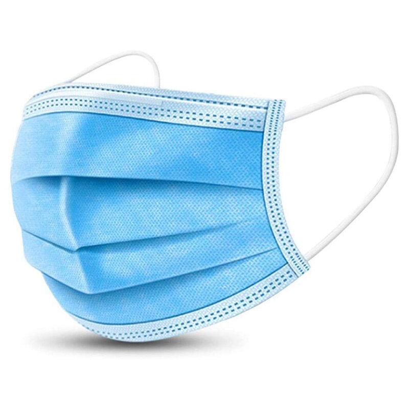 [Pachet 50x] Masca De Protectie Faciala Nesterila Universala Cu 3 Straturi Si 3 Pliuri De Unica Folosinta - Alba/Albastra