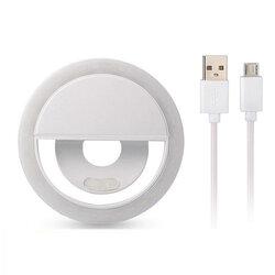 Lampa Circulara Selfie Ring LED Light Rk-12 Cu Suport De Prindere Pentru Telefon + Cablu Incarcare Micro-USB - Alb