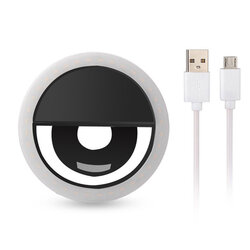 Lampa Circulara Selfie Ring LED Light Rk-12 Cu Suport De Prindere Pentru Telefon + Cablu Incarcare Micro-USB - Negru