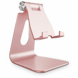 Suport Birou Tech-Protect Z4A Universal Stand Holder Pentru Telefon Din Aluminiu Pliabil Si Reglabil - Roz/Auriu