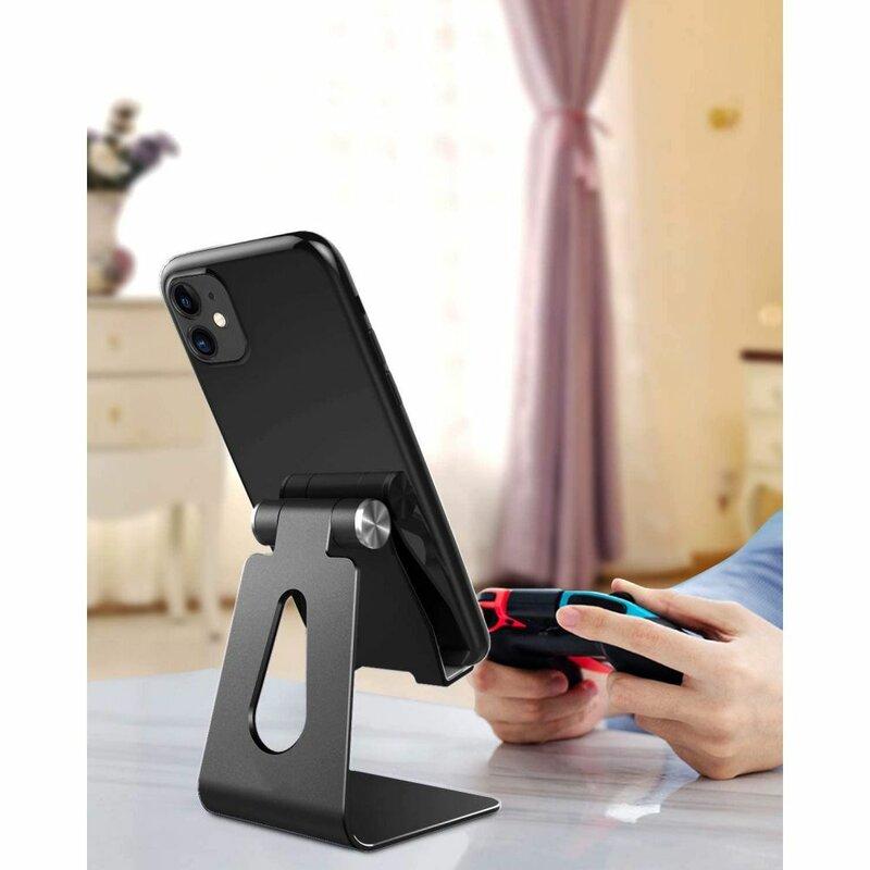 Suport Birou Tech-Protect Z4A Universal Stand Holder Pentru Telefon Din Aluminiu Pliabil Si Reglabil - Negru