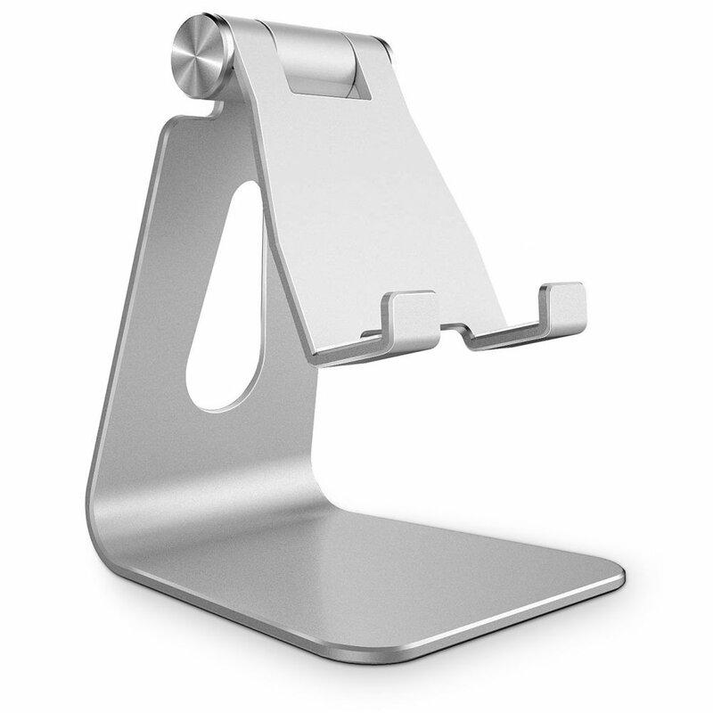 Suport Birou Tech-Protect Z4A Universal Stand Holder Pentru Telefon Din Aluminiu Pliabil Si Reglabil - Argintiu