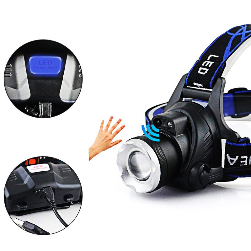Lanterna Pentru Cap T6 Universala De Tip Lampa Cu LED Reincarcabila + Curea De Prindere Si 2 Acumulatori - Negru