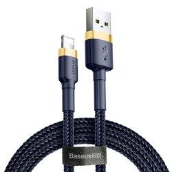 Cablu De Date Baseus Cafule Fast Charge USB La Lightning QC3.0 1m 2.4A - CALKLF-BV3 - Albastru/Auriu