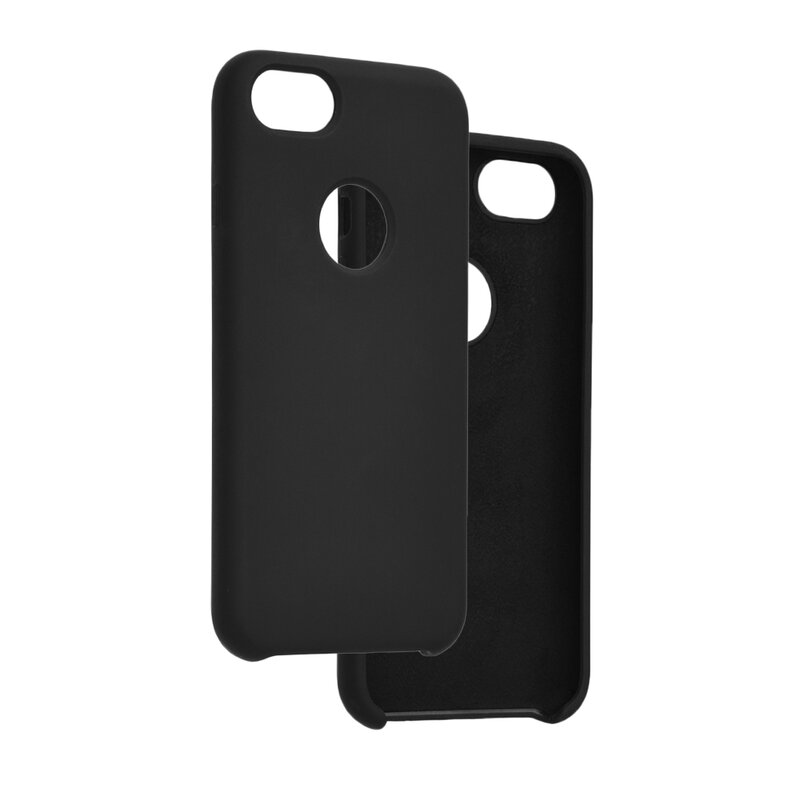 Husa iPhone 8 Silicon Soft Touch Cu Decupaj Sigla - Negru