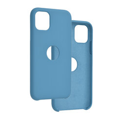 Husa iPhone 11 Silicon Soft Touch Logo Cut - Bleu