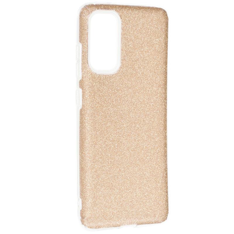 Husa Samsung Galaxy S20 5G Color TPU Sclipici - Auriu