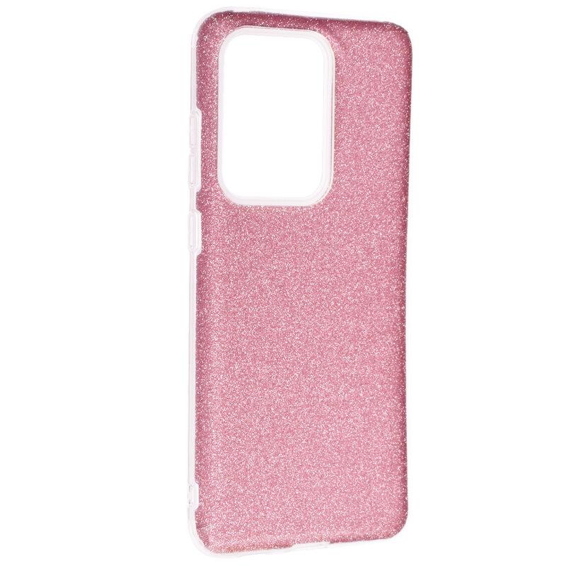 Husa Samsung Galaxy S20 Ultra 5G Color TPU Sclipici - Roz