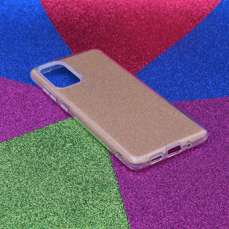 Husa Samsung Galaxy S20 Plus 5G Color TPU Sclipici - Auriu