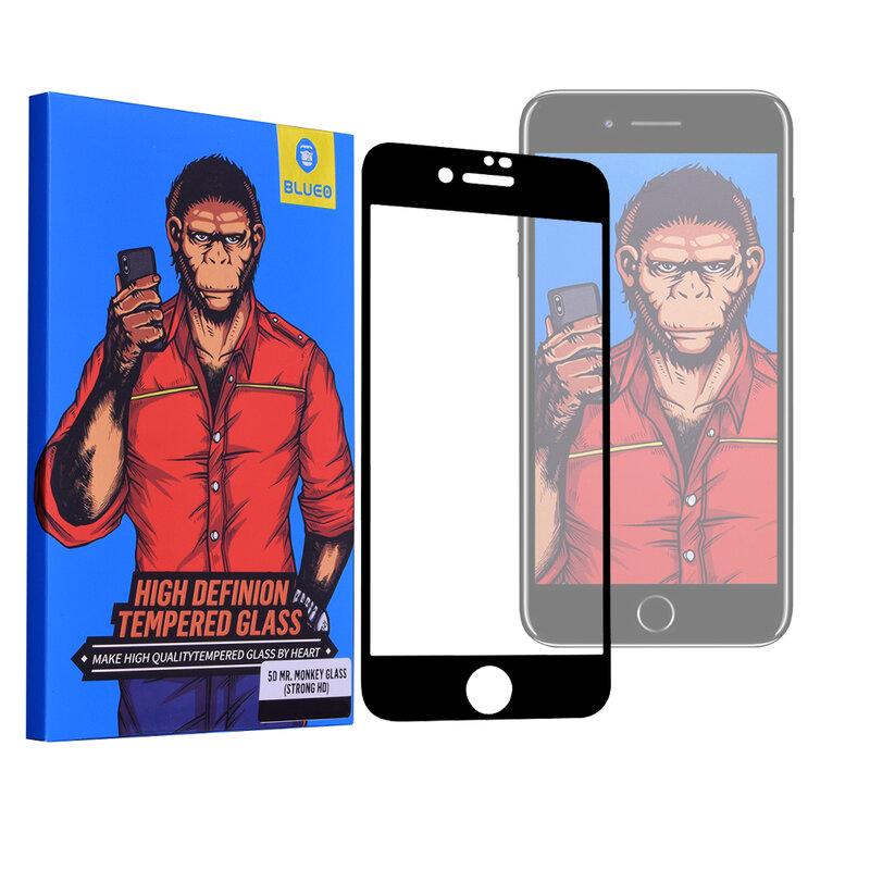 Folie Sticla iPhone 8 Blueo 5D Mr. Monkey Glass Strong HD - Negru