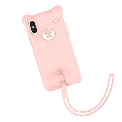 Husa iPhone XS Max Baseus Bear Plus Curea Pentru Incheietura - WIAPIPH65-BE04 - Roz
