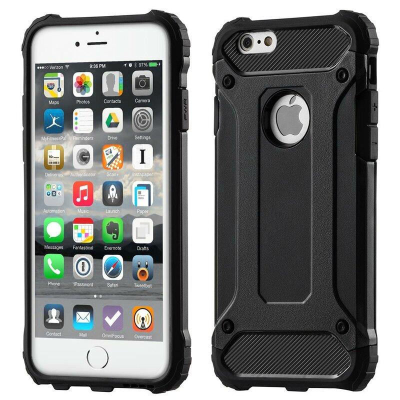 Husa iPhone 7 Hybrid Armor Cu Decupaj Sigla - Negru