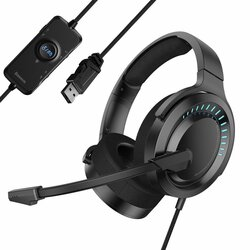 Casti On-Ear Baseus GAMO RGB Cu Telecomanda Pe Cablu USB Si Microfon Pentru Gaming - NGD05-01 - Negru