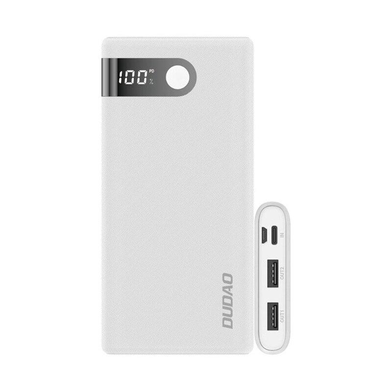 Baterie Externa Dudao K9Pro Cu Capacitate De 10000mAh 2x USB / Micro-USB / Type-C Si Display LED 2A - Alb