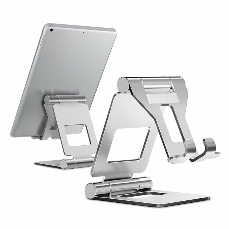 Suport Birou Tech-Protect Z10 Universal Stand Pentru Telefon/Tableta Din Aluminiu Pliabil Si Reglabil - Argintiu