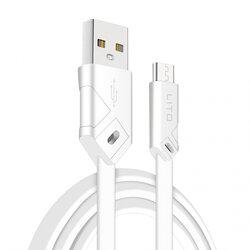 Cablu De Date Lito SJ-002 De La USB La Micro-USB Cu Incarcare Rapida Si Invelis Plat Din TPU 2.1A 1m - Alb