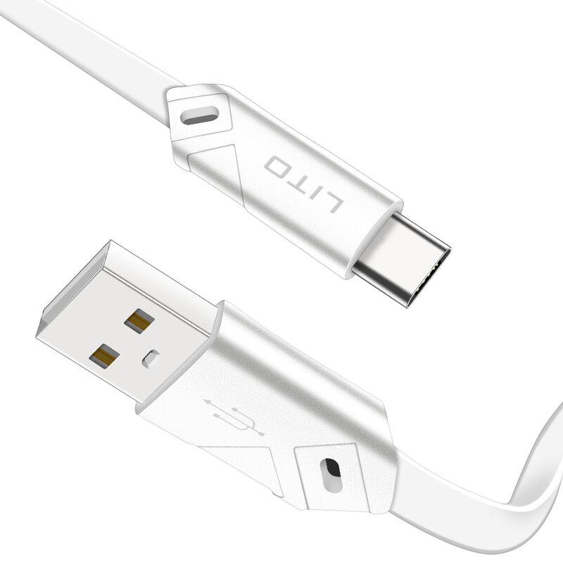 Cablu De Date Lito SJ-002 De La USB La Type-C Cu Incarcare Rapida Si Invelis Plat Din TPU 2.1A 1m - Alb