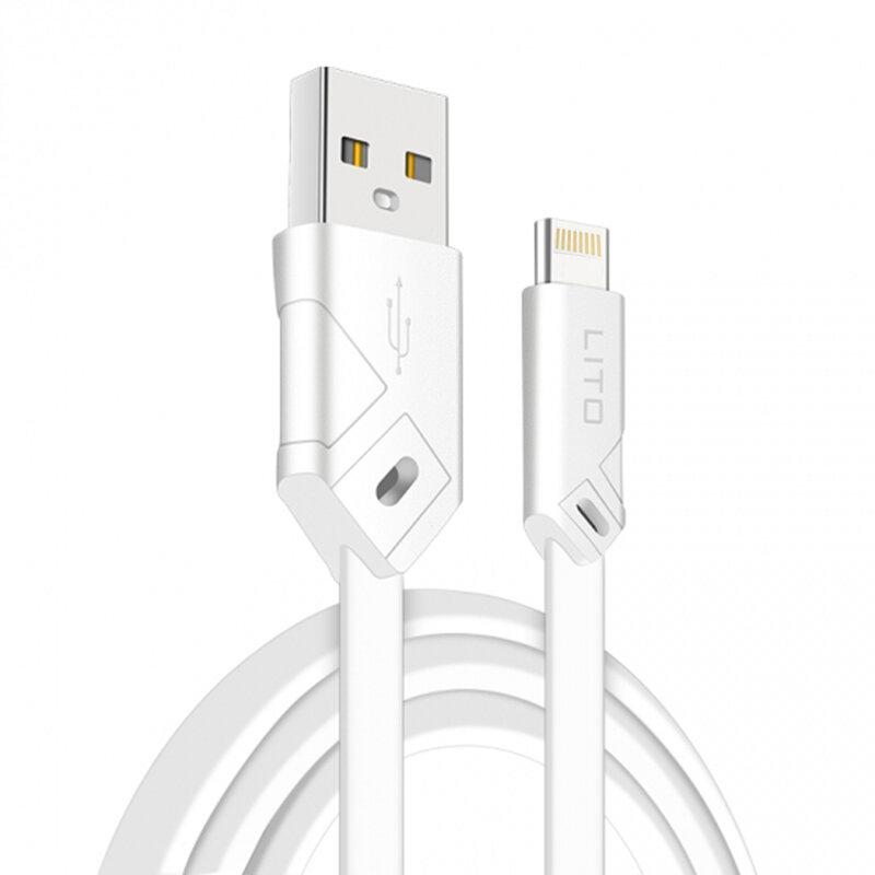 Cablu De Date Lito SJ-002 De La USB La Lightning Cu Incarcare Rapida Si Invelis Plat Din TPU 2.1A 1m - Alb