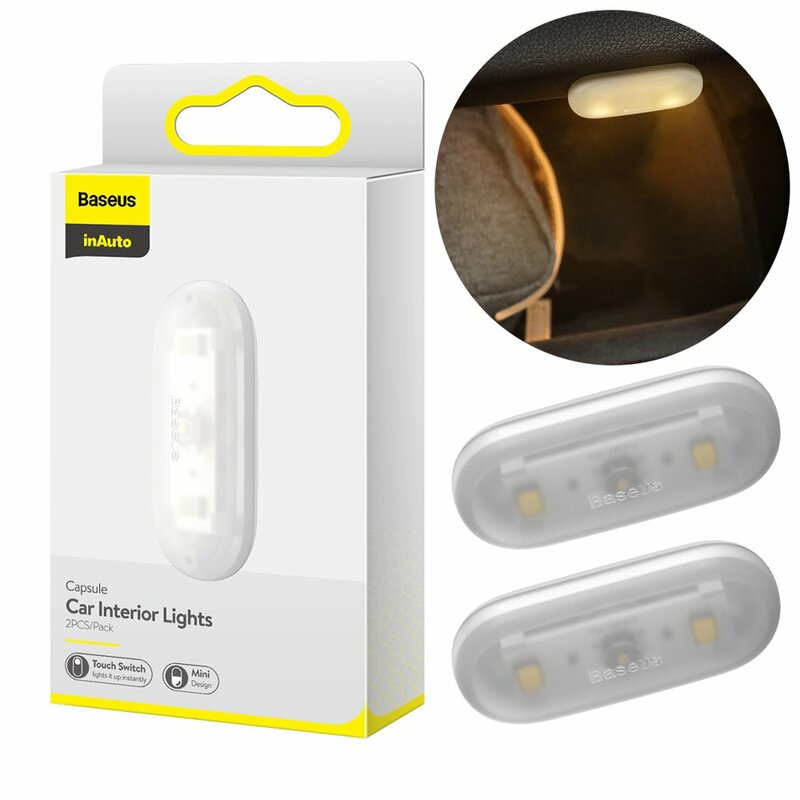 [Pachet 2x] Lampa Auto LED Cu Inductie Baseus Capsule Auto-Adeziva Si Cu Baterie Alcalina - DGXW-02 - Alb