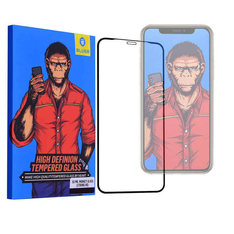 Folie Sticla iPhone XS Blueo 5D Mr. Monkey Glass Strong HD - Negru