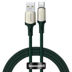 Cablu De Date Baseus Cafule USB La Type-C Cu Suport Pentru Incarcare Rapida VOOC 5A 1m - CATKLF-VA06 - Verde
