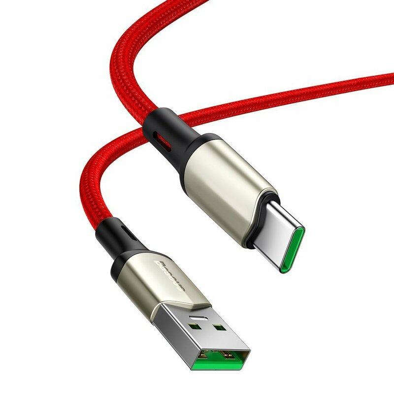 Cablu De Date Baseus Cafule USB La Type-C Cu Suport Pentru Incarcare Rapida VOOC 5A 2m - CATKLF-VB09 - Rosu