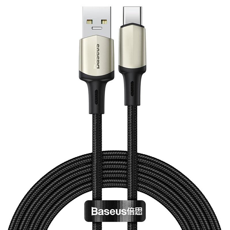 Cablu De Date Baseus Cafule USB La Type-C Cu Suport Pentru Incarcare Rapida VOOC 5A 2m - CATKLF-VB01 - Negru