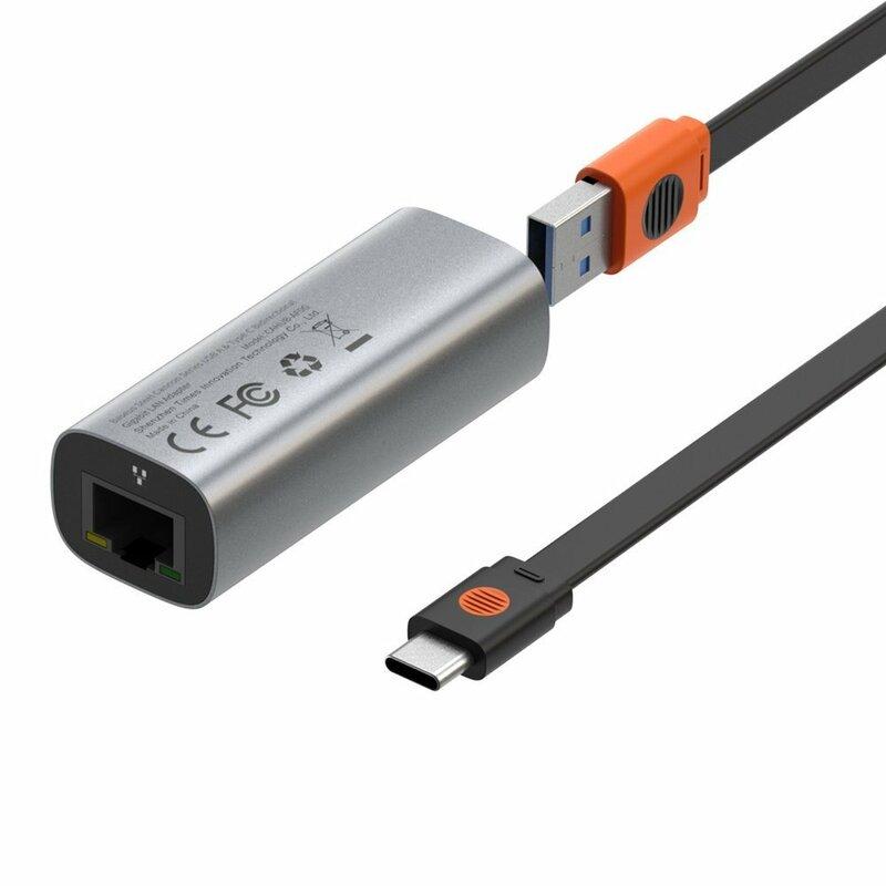 Hub Baseus Steel Cannon Adaptor De La USB / Type-C La RJ45 LAN Cu Viteza De 1000Mbps - CAHUB-AF0G - Gri
