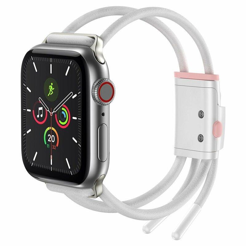 Curea Apple Watch 5 44mm Baseus Let's Go Din Bumbac Si Aluminiu - LBAPWA4-B24 - Alb