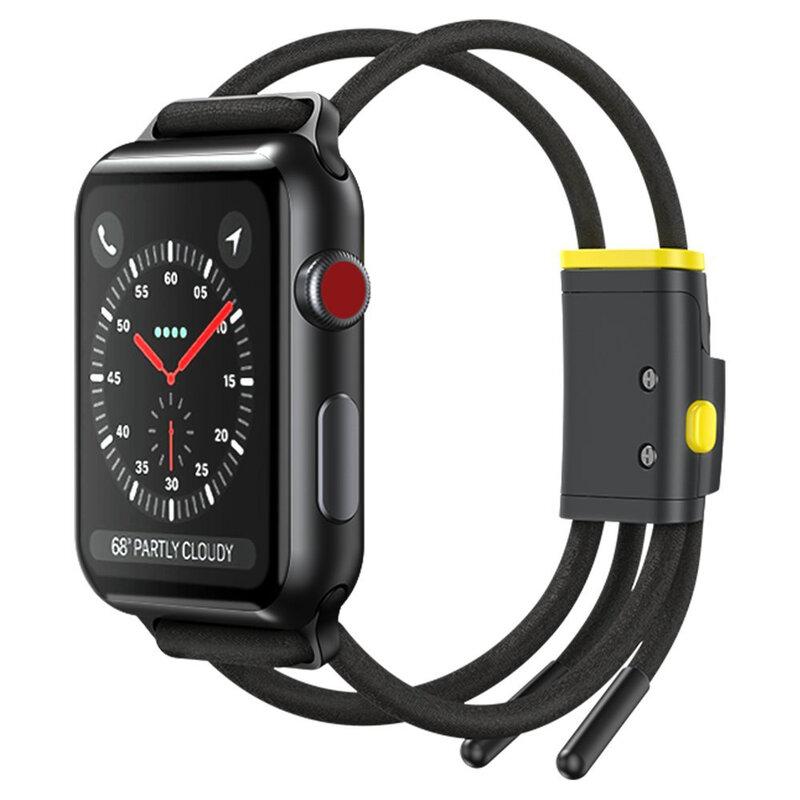Curea Apple Watch 1 42mm Baseus Let's Go Din Bumbac Si Aluminiu - LBAPWA4-BGY - Negru