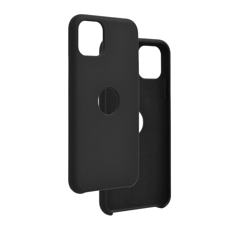 Husa iPhone 11 Pro Max Silicon Soft Touch Logo Cut - Negru
