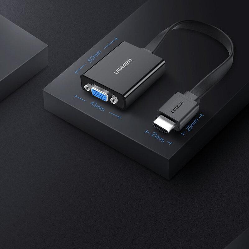 Cablu Video Convertor Ugreen De La HDMI La VGA Rezolutie Full HD 1080p Pentru TV/PC/Proiector - 40248 - Negru