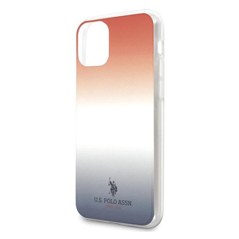 Husa iPhone 11 U.S. Polo Assn. Gradient Pattern Collection - Rosu / Albastru