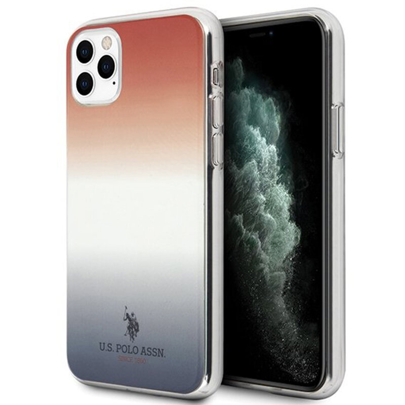 Husa iPhone 11 Pro Max U.S. Polo Assn. Gradient Pattern Collection - Rosu / Albastru