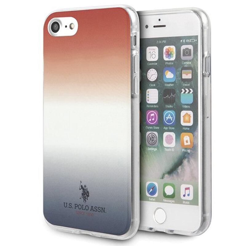 Husa iPhone 7 U.S. Polo Assn. Gradient Pattern Collection - Rosu / Albastru