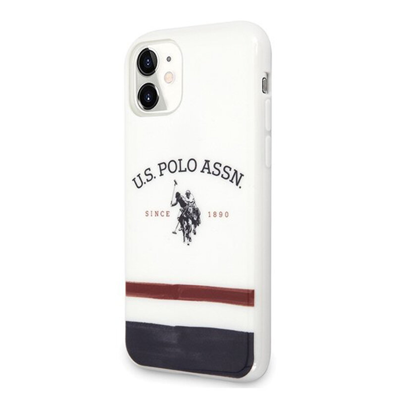 Husa iPhone 11 U.S. Polo Assn. Tricolor Pattern Collection - Alb