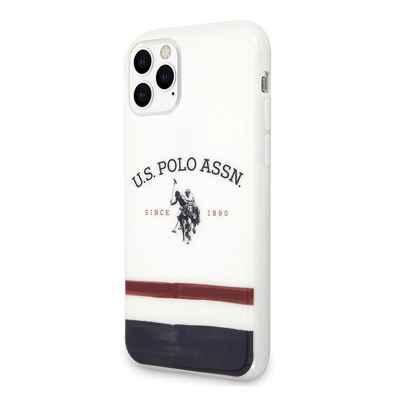 Husa iPhone 11 Pro Max U.S. Polo Assn. Tricolor Pattern Collection - Alb