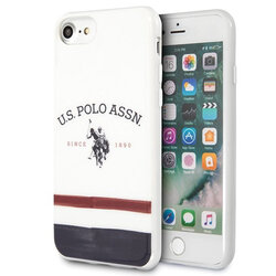 Husa iPhone 7 U.S. Polo Assn. Tricolor Pattern Collection - Alb