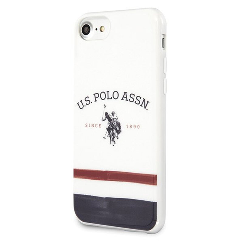Husa iPhone SE 2, SE 2020 U.S. Polo Assn. Tricolor Pattern Collection - Alb