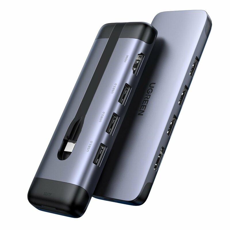 Hub Ugreen, Type-C la 2x USB 3.0, HDMI, RJ45, Type-C PD, 5A, gri, 70508
