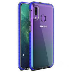 Husa Samsung Galaxy A20e Transparenta Spring Case Flexibila Cu Margini Colorate - Bleumarin