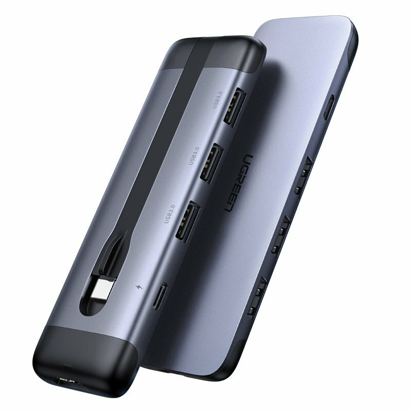 Hub Ugreen 5in1 Adaptor Multifunctional De La Type-C La 3x USB 3.0 / HDMI / Type-C PD 100W 5A - 70408 - Gri